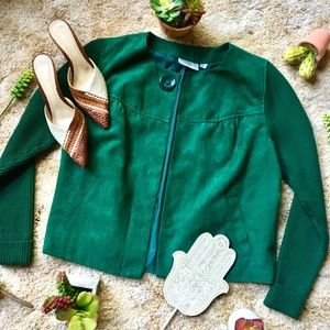 {Studioworks Petite} Ribbed Knit & Suede Sweater